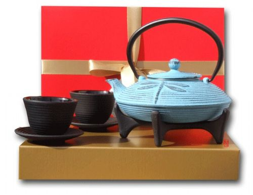 Gift Box - Cast Iron Blue Dragonfly Tetsubin teapot kettle cups & star trivet - 0.8 litre Japanese s